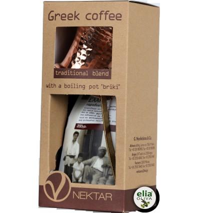 """NEKTAR - grécka káva gift box """"BRIKI"""" 250gr"""