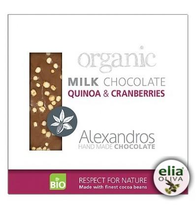 BIO mliečna čoko s quinoa a brusnicami 90gr